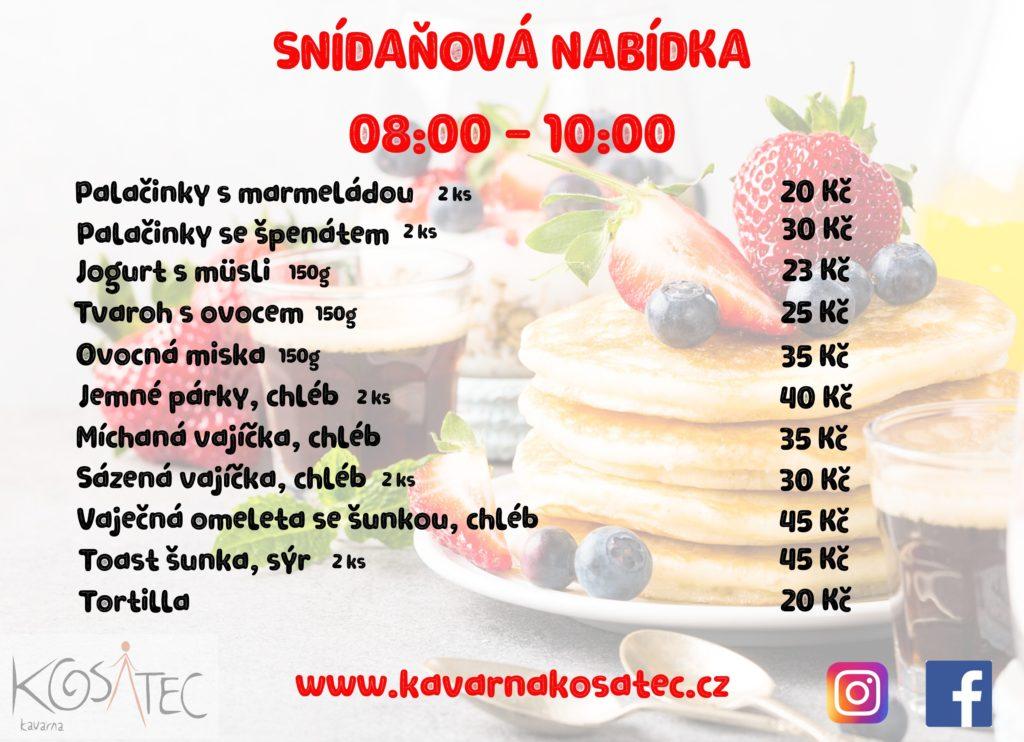Nabídka snídaní v kavárně Kosatec Pardubice
