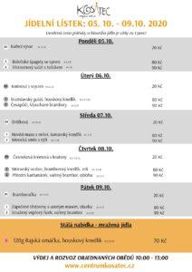 Jídelní lístek 5.-9.10.2020 Centrum Kosatec Pardubice