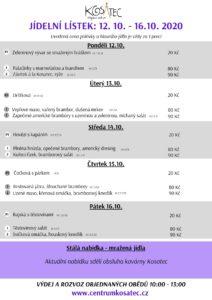 Obědové menu od 12.10. v Centru Kosatec