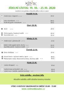 Obědové menu od 19.10. v Centru Kosatec